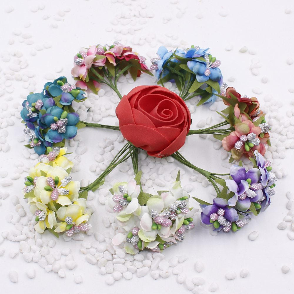 6pcslot Cherry Blossoms Artificial Flowers For Wedding Decoration