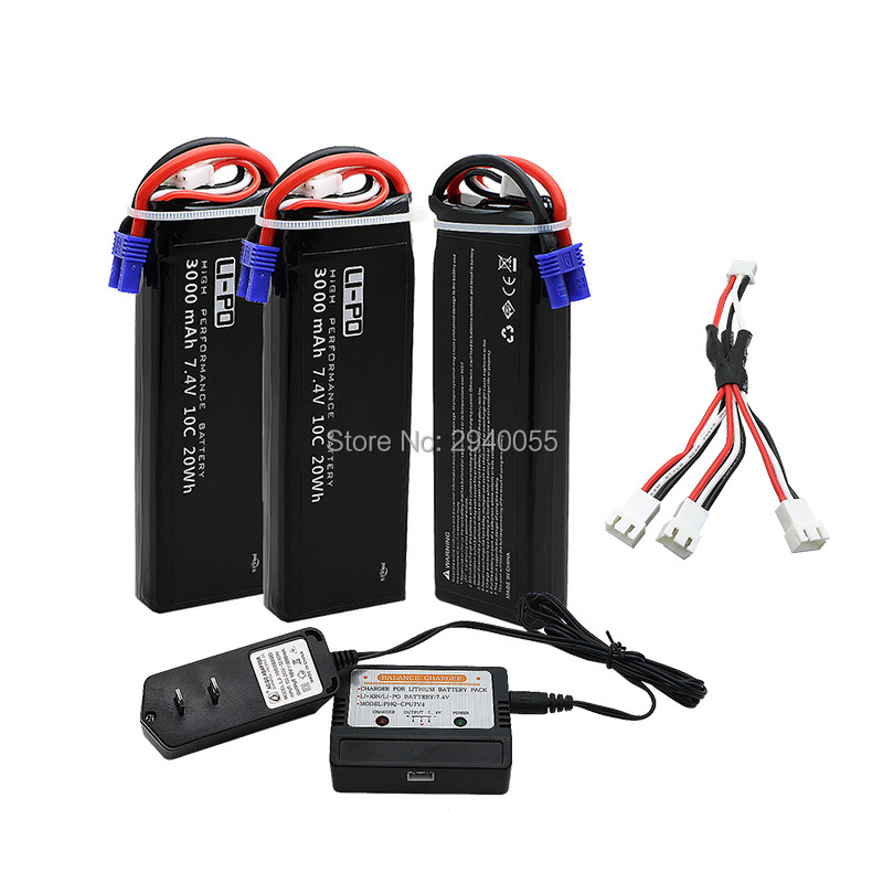 7.4V 3000mAh 10C Hubsan H501S lipo battery 3pcs+charger Hubsan H501C rc Quadcopter Airplane drone Spar h501s lipo battery 7 4v 2700mah 10c batteies 3pcs for hubsan h501c rc quadcopter airplane drone spare parts