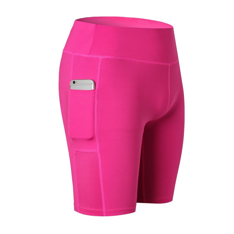 2018 new ladies stretch stretch fitness sweat sweatshirt elastic pocket shorts sports riding shorts