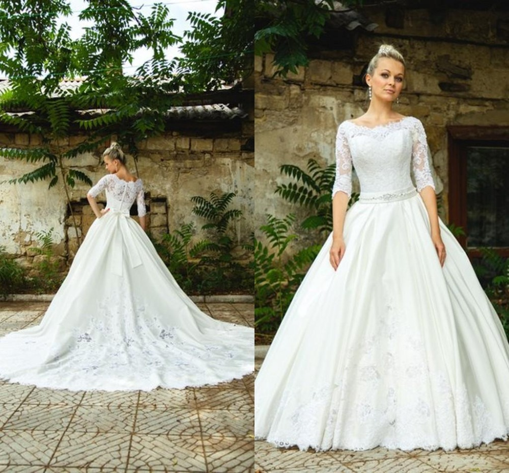 Modest Spring Wedding Dress with Sheer Lace Applique Jewel Neck Half ...