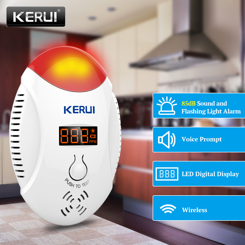 KERUI LED Digital Display Carbon Monoxide Detectors Voice Strobe Home Security Safety CO Gas Carbon Alarm Detector Sensor Alarm golden security lpg detector wireless digital led display combustible gas detector for home alarm system