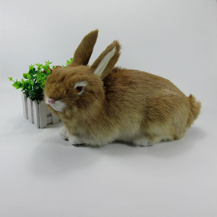 yellow simulation rabbit toy plastic&fur big cute rabbit doll model gift 33x16x22cm a74
