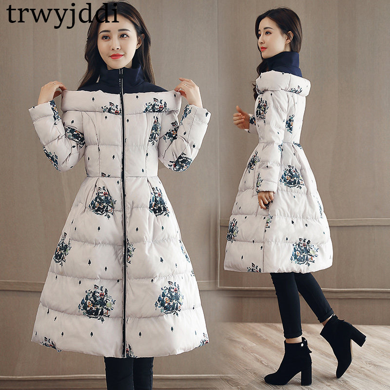 New Fashion Down Cotton Clothing 2018 Autumn Winter Women's   Parka   Coats Long Section Korean Thickening Printed Jacket A1239