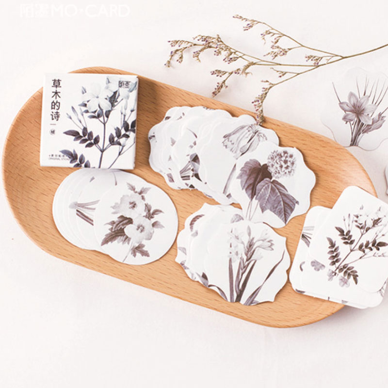 45 pcs/box MO.CARD Simple elegant plant collection hand stickers diy diary scrapbook decoration paper sealing sticker stationery