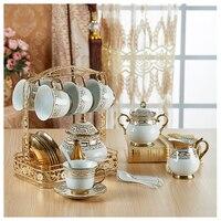 15 pcs estilo Europeu Real conjunto de chá de café cerâmica caneca de água para uso doméstico incluído 6 xícaras 6 pires 1 titular 1 pote de açúcar 1 jarro de leite