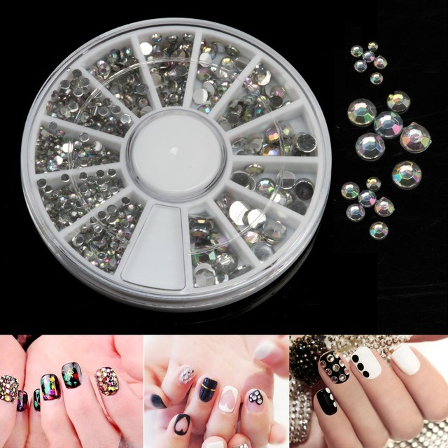 1 Wheel Ab Nail Art Golden Supper Bright Rhinestones Diy Charms Jewelry Acrylic Nails
