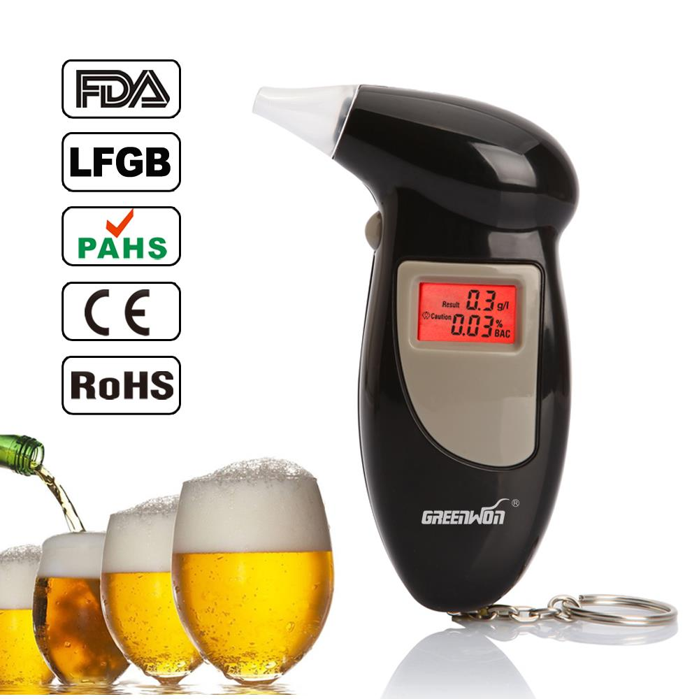 2019 Greenwon 68 S Nuovo Materiale Abs Colore Nero Digital Portachiavi Etilometro/Fit Alcohol Tester con Retroilluminazione Rossa