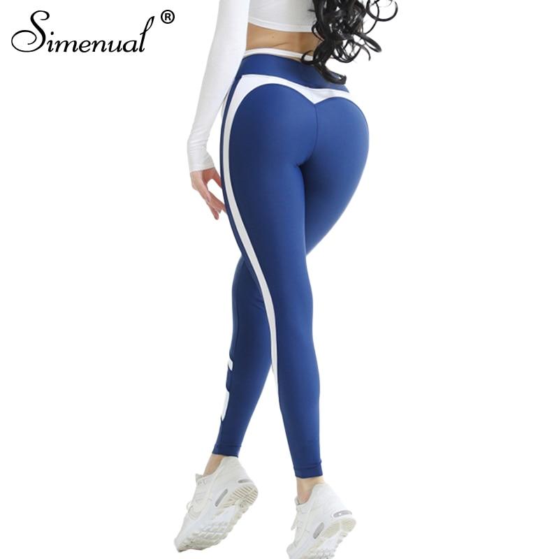 Simenual New arrival heart leggings women sportswear 2018 splice bodybuilding fitness legging push up jeggings womens pants hot
