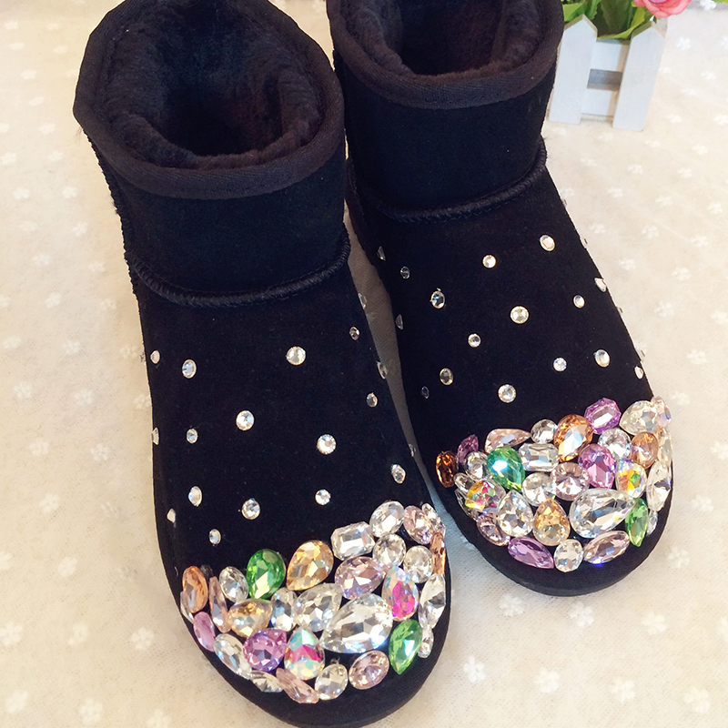 Free Shipping Handmade Rhinestone kids crystal baby girl's bling bling Snow Boots children warm Shiny fashion Winter Shoes tassels feather crystal rhineston snow boots woman winter luxury women s bling bling snow boots warm shiny fashion winter shoes
