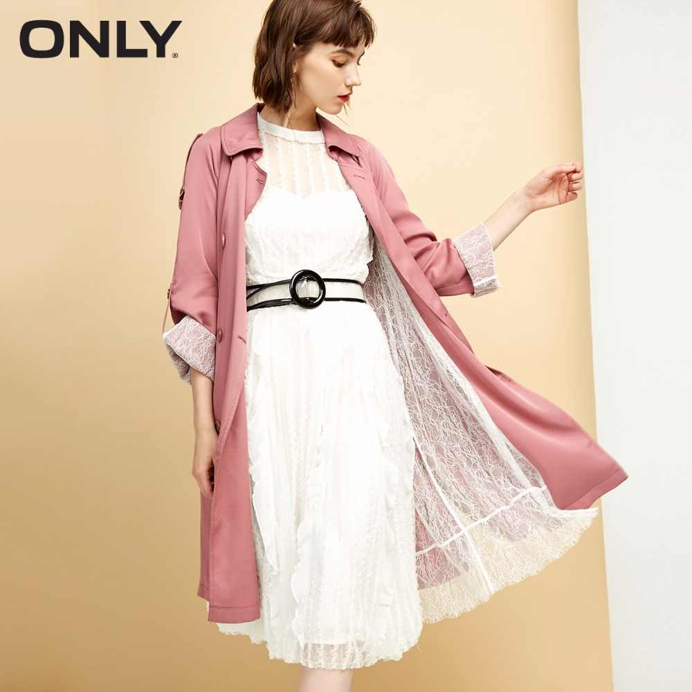 ONLY Women's Lace Lining Double-breasted Wind CoatFull lace ling Side slits  |118336567