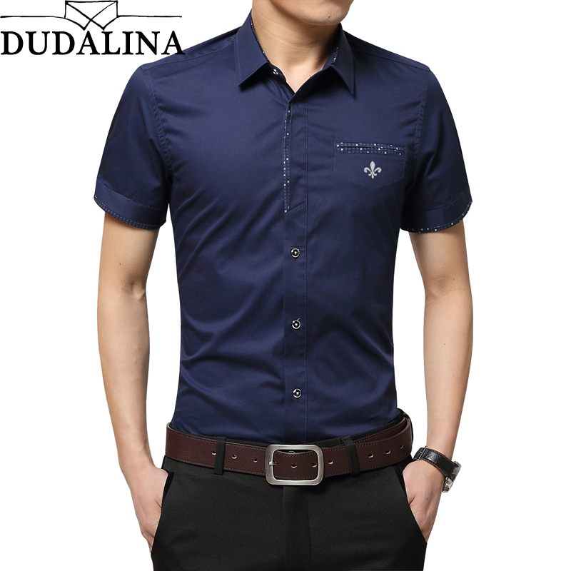 Dudalina Plus Size Summer Brand Shirt Male Shirt Sleeve Social Shirt Turn-down Collar Fake Pocket Design Shirt Imported Clothing