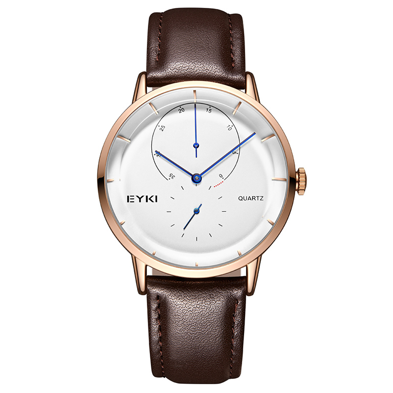 EYKI New Style Alloy Strap Men Watch Independent Seconds Casual Trend Mens Watches 2018 Students Waterproof Quartz Watch 1096 men s casual watches men s watch students quartz watch waterproof business watch fashion trend korean version of the watch