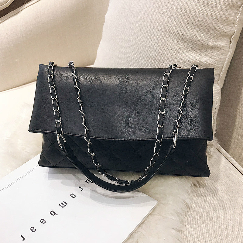 European and American fashion tide bag female shoulder bag simple wild Messenger bag Lingge small fragrance chain handbag 6
