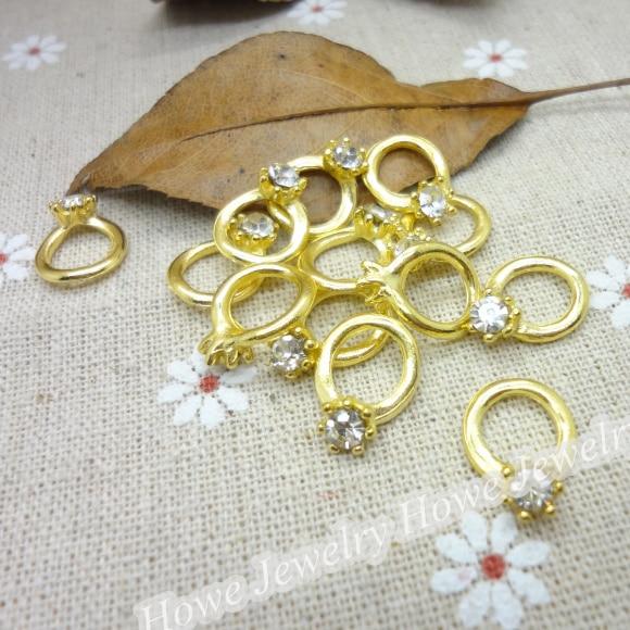 100 Pcs Charms Ring Pendant  Gold Color  Zinc Alloy Fit Bracelet Necklace DIY Metal Jewelry Findings