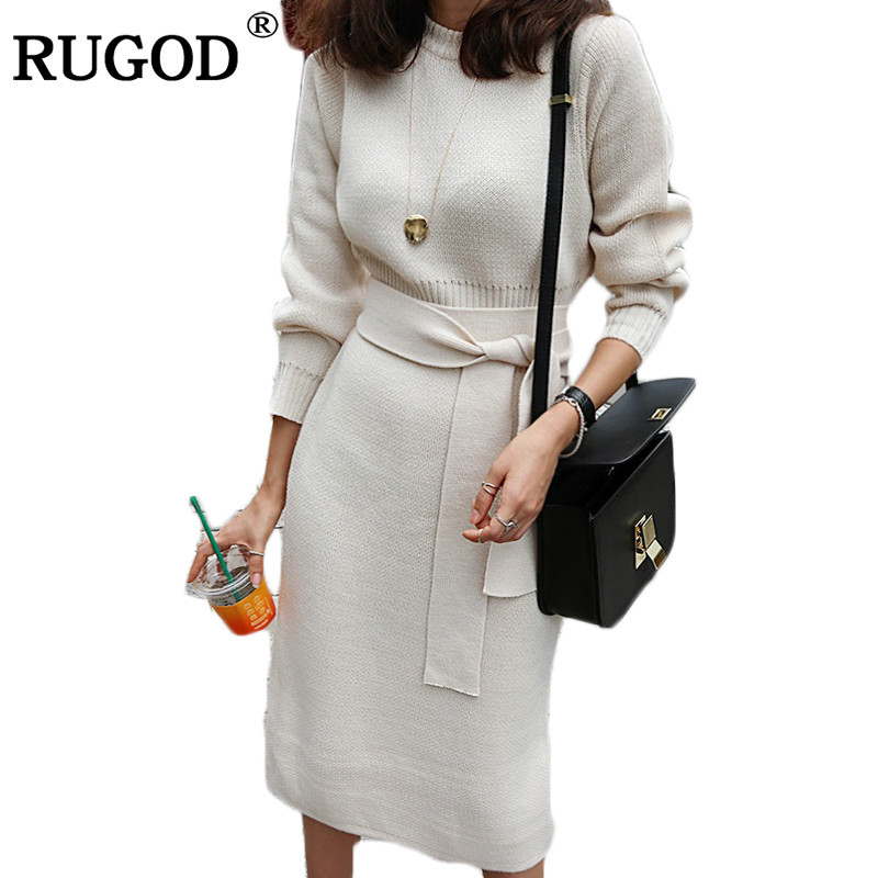 RUGOD 2018 New Winter Kintted Sweater Dress Women Sweet Elegant Pullover O Neck Long Sleeves Mid Calf Pencil Dress Solid Color