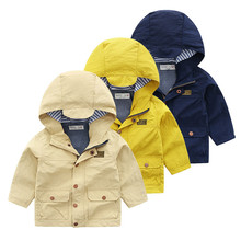 цены 2019 New Spring Autumn Long Sleeve Kids Jacket Casual Outerwear Coats Boys Kids Baby Windbreaker Hooded Children Clothing 2-8T