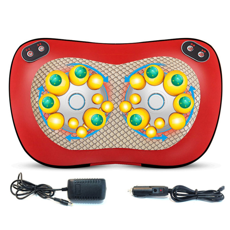 Electric Massage Pillow Car Magnetic Therapy Shiatsu Infrared Heat Neck Shoulder Waist Back Cervical Lumbar Massager Device