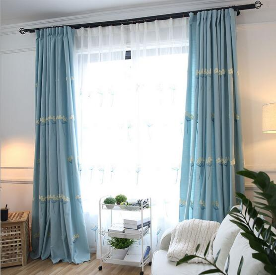 Nouvelle Arrivée soie coton fleur brodé fenêtre rideau d\'occultation ...