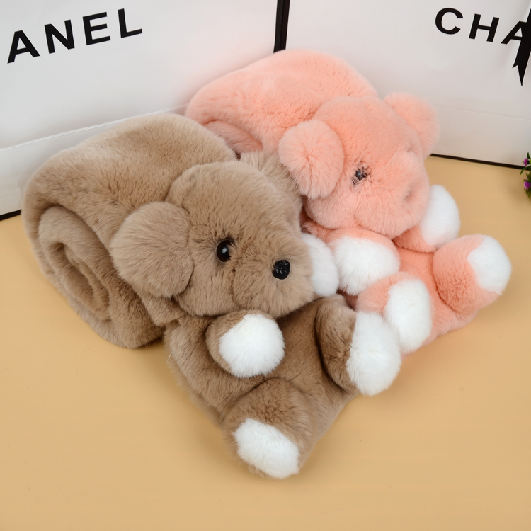 Genuine real rabbit small Korean bear scarf scarf thick winter warm female children selling models
