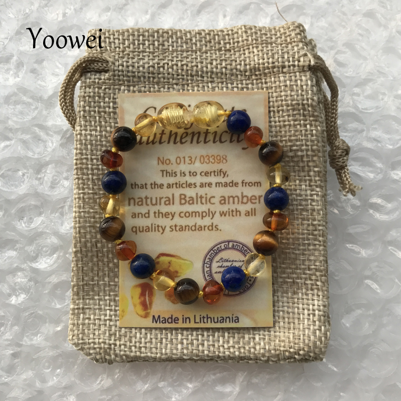 Yoowei 9 Color Baby Amber Bracelet/Necklace Natural Amethyst Gems Adult Baby Teething Necklace Baltic Amber Jewelry Wholesale