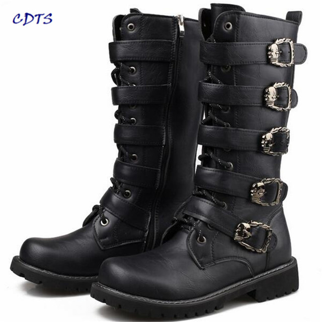 Big size:37-44 45 New 2017 Autumn/Winter Men's Knee-high Fashion Punk rock Boots Outdoor motorcycle Boats Riding Men denim shoes