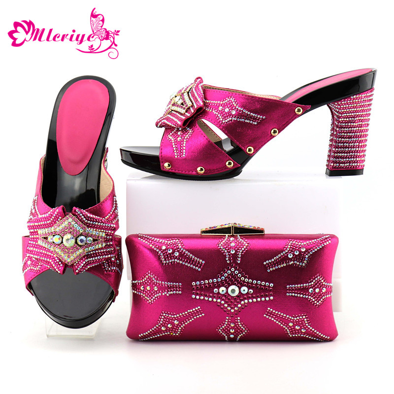 New Arrival Summer High Heeled Shoes for Women Ladies Italian Shoes and Bag Set Decorated with Rhinestone Nigerian Women Shoes chic women s rhinestone decorated floral ring