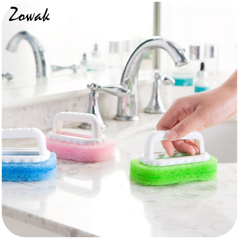 Household Cleaning Supplies For Kitchen Bathroom Plastic Dirts Brush Handle Sponge Brush Tile