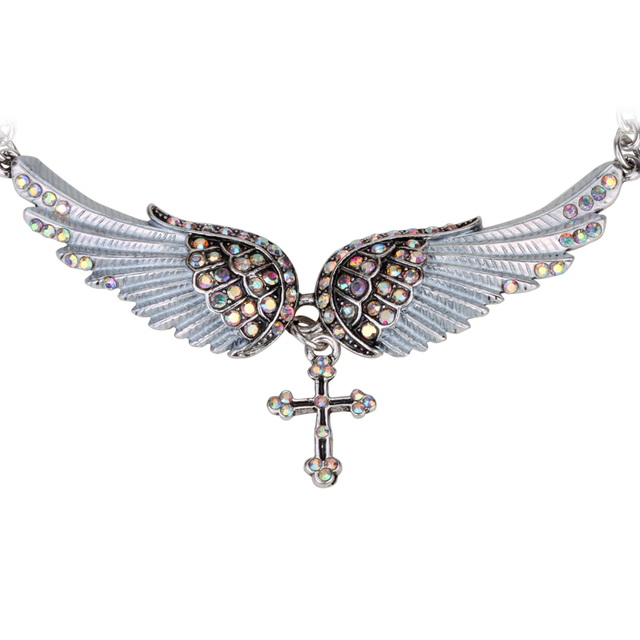 Angel Wing Cross Necklace in Antique Silver Color for Biker Women