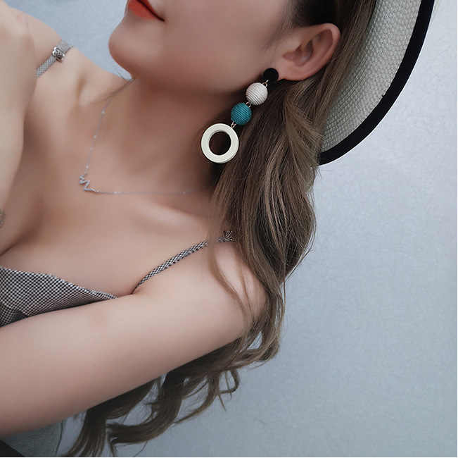 Hot Sale Fashion Bohemian Dangle Earrings For Women DIY Brincos Long Statement Wood Earrings Wedding Round Ball Drop Earrings