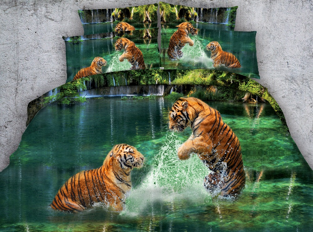 3D Two Tigers Playing in Water Printed 4-Piece Bedding Sets/Duvet Covers <font><b>Bed</b></font> linens Bedspreads Twin Full Queen Super King size