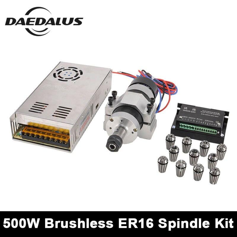 Spindle 500KW Motor ER11 ER16 DC Brushless Spindle 55MM CNC Clamp Stepper Motor Driver Power Supply