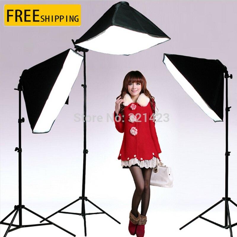 Фотостудия непрерывный 50X70 см Softbox 100 240 V 4 лампа держатель с горизонтальным Arm 2 м Свет Стенд