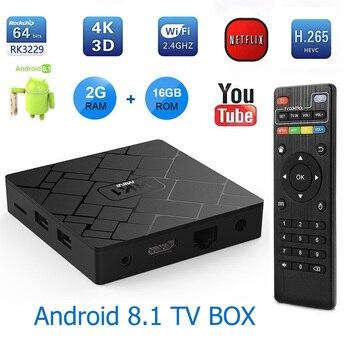 KimTin HK1 Smart TV BOX Android 8.1 Quad Core Set Top Box 2G Ram 16G ROM 4 K 3D H.265 2.4G Wifi 1080 P HD Media Player TV Récepteur