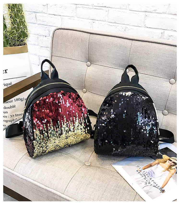 Backpacks women Korean mini 2018 new sequined shell fashion trend women go with small backpacks travel backpack 100