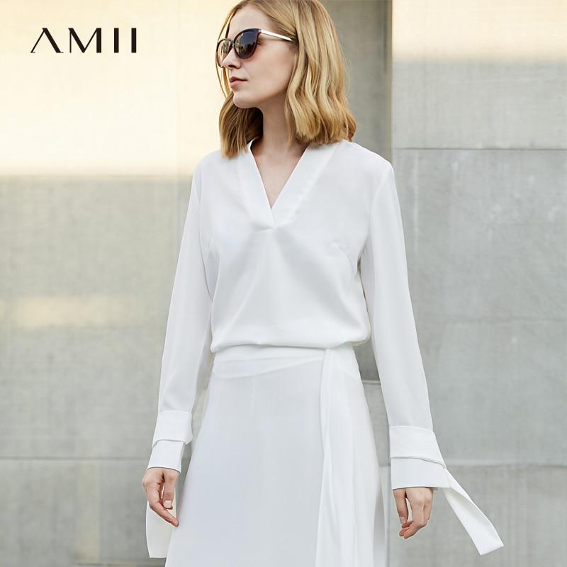 Amii Minimalist Women 2019 Spring   Blouse   Solid V Neck Straps Female   Blouses     Shirts