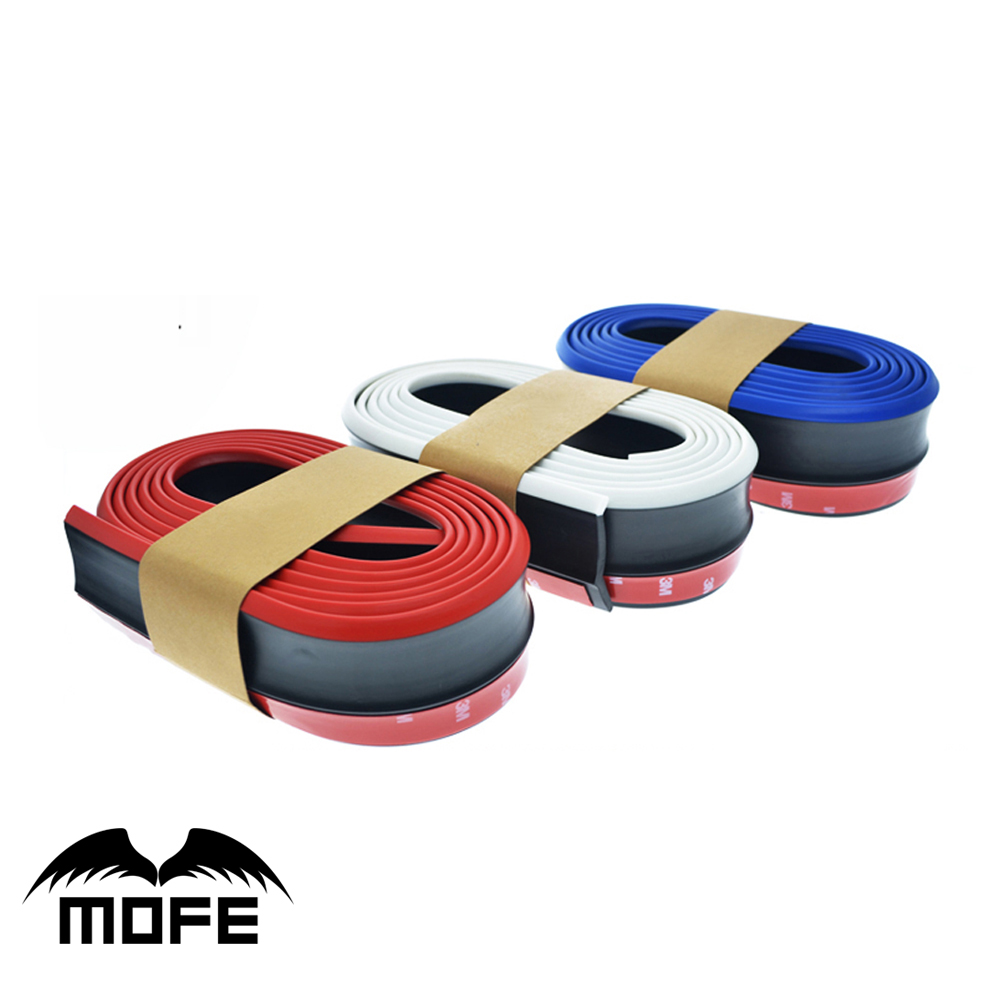 MOFE Car Styling Universal Front Lip Skirt protector Car Scratch Resistant Rubber Bumpers Car Front Lip Bumpers 2.5M x 6.2CM