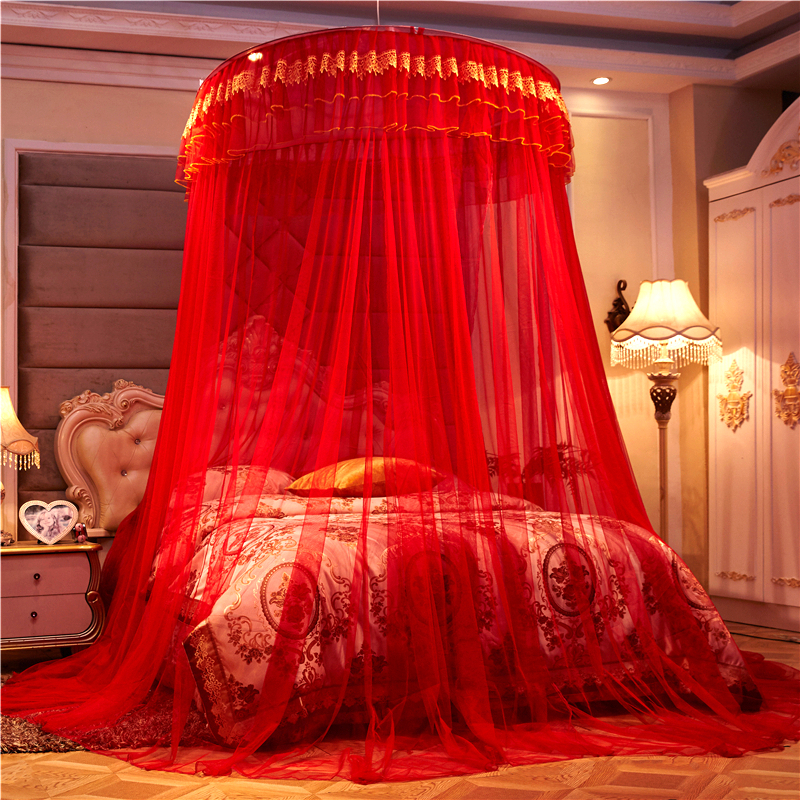 Romantic Chinese Red Honeymoon Princess Round Mosquito Net Double layer Lace Bed Canopy Tent Folding Dome