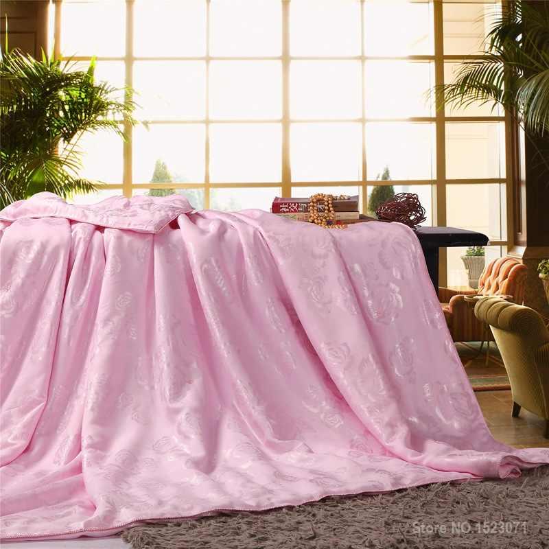100% chăn lụa dâu/quilt/ủi cho mùa đông/mùa hè king/nữ hoàng/đôi kích thước trắng và hồng thủ công duvet nhanh chóng vận chuyển