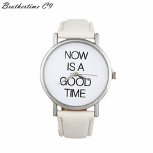 2016 Top Quality 3 Colors Dress Letter NOW IS A GOOD TIME Pattern PU leather Belt Buckle Analog Dial Watch men Reloj hombre