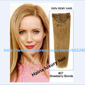7A Aliexpress UK Human Hair Clip in Extensions Silky Straight Hairia Luxury Hair #27 Dark Blonde 8pcs160g 22inch