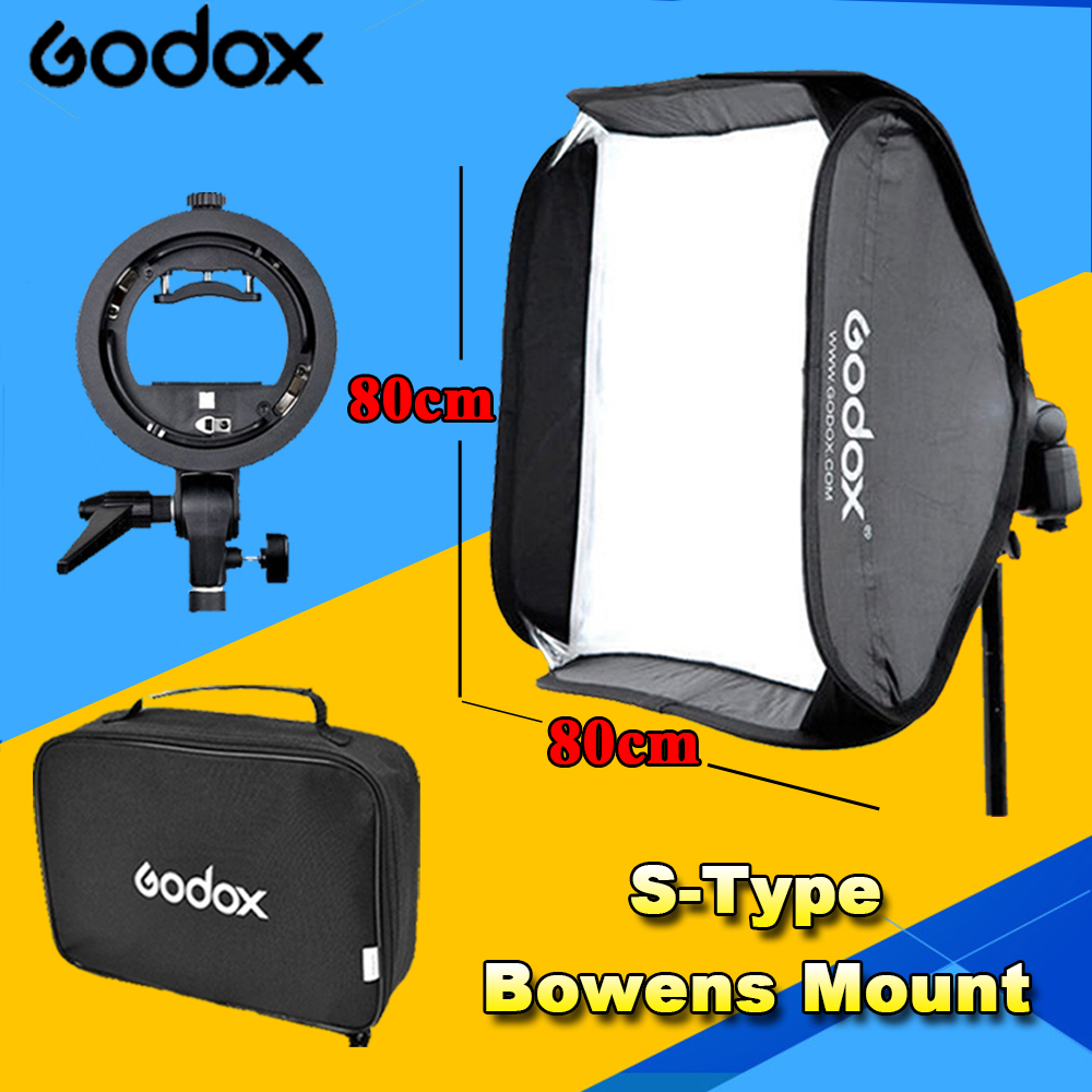 Godox Foldable Collapsible Flash Softbox 80cm 80cm S type Bracket Stable Bowens Flash Speedlite Studio Shooting