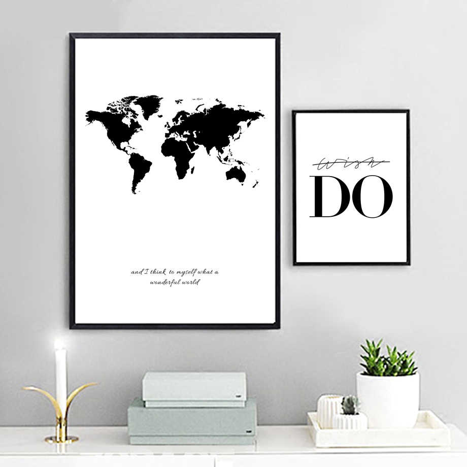 World Map Canvas Wall Art Canvas Painting Black And White Print Poster Decorative Pictures Living Room Study Room