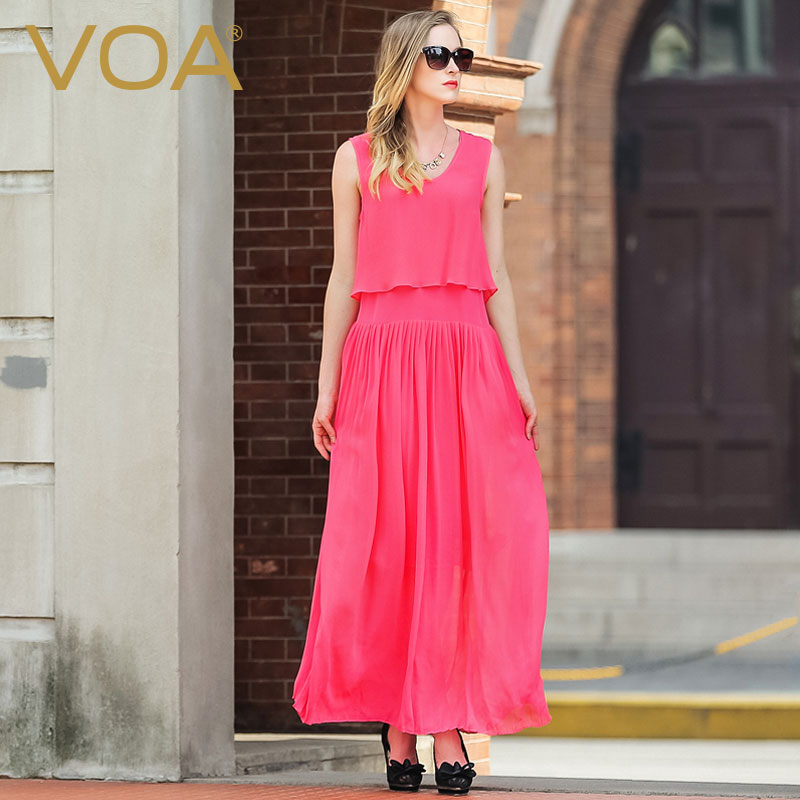 b128b96fe4723f VOA Europa watermeloen rode zijde jurk dunne zomer nieuwe mouwloze losse  valse twee grote swing jurk gebroken vouw A5903