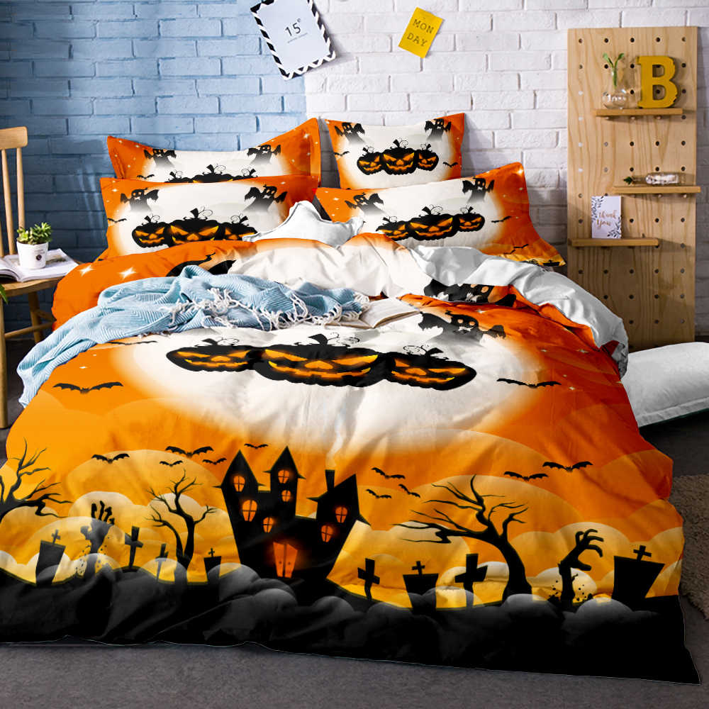 Halloween Gift 3D Printed Zombie Skull Bedding Set 3pcs Duvet Cover Set Bedsheet Pillowcases Twin Queen King Size Bed Linen