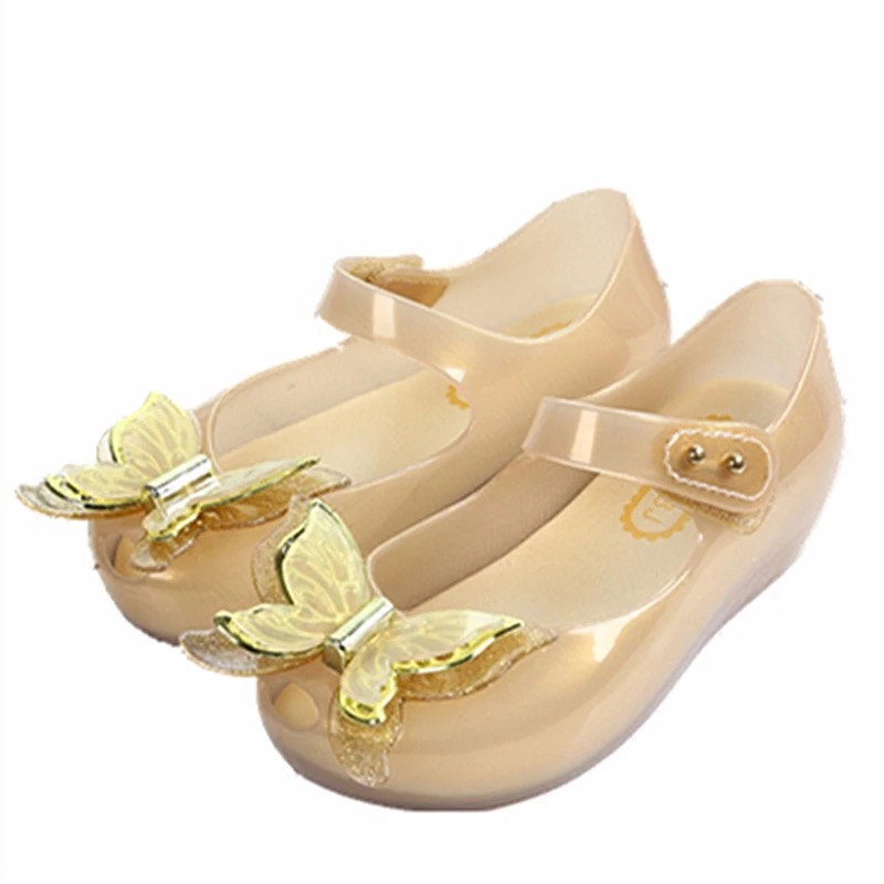 Mini Melissa 3D Butterfly Girl Jelly Sandals 2018 Sandals Bow Princess Shoes Melissa Children Beach Shoes Jelly Children Shoes