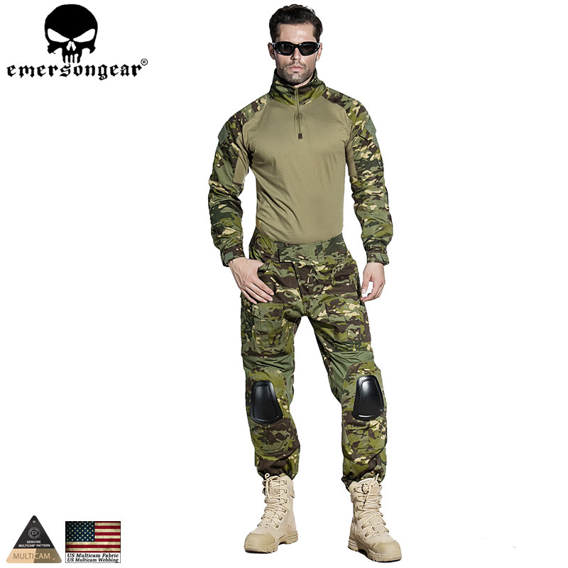 EMERSONGEAR Gen 2 BDU Airsoft Combat Uniform Training Clothing Tactical Shirt Pants with Knee Pads Multicam Tropic EM6972 new emersongear tactical woman g3 combat uniform pants