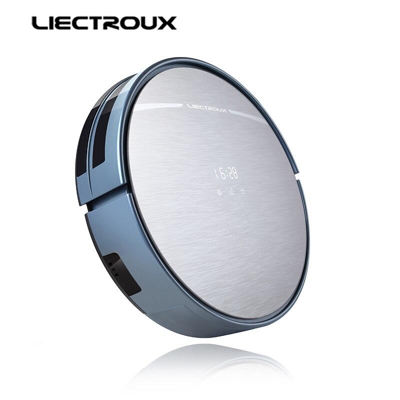 LIECTROUX X5S Robot Aspirateur, WIFI APP Contrôle, Gyroscope Navigation, Commutable Réservoir D'eau et La Poussière Bin, calendrier, Auto Charge