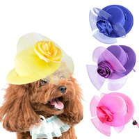 Pet Cat Dog Princess Hat Cloth With Fancy Flower Rose Lace Lady Design Style Mesh Cloth