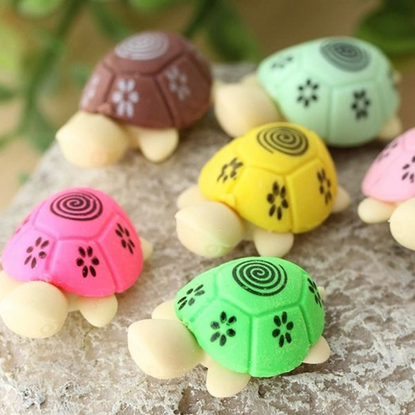 2pcs/1pair Hot Sale Cute Turtle Rubber Pencil Eraser Set Various Color Stationery Student Rewards Gift K6188