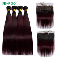 Brazilian Straight Hair Bundles With 13x4 Frontal Dark Roots 99J Ombre Human Hair With Closure 4 Bundles/Lot Virgo Remy Hair